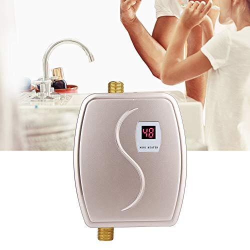 Durchlauferhitzer, 220V 3800W Mini-Durchlauferhitzer Elektro-Durchlauferhitzer mit konstanter Temperatur und LCD-Anzeige für Küche, Bad, Dusche(EU Golden)