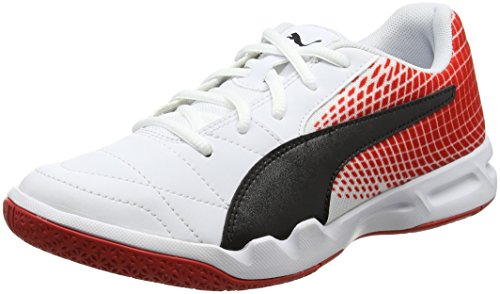 Puma Veloz NG, Scape per Sport Indoor Unisex-Adulto, Bianco White Black-Flame Scarlet, 42.5 EU