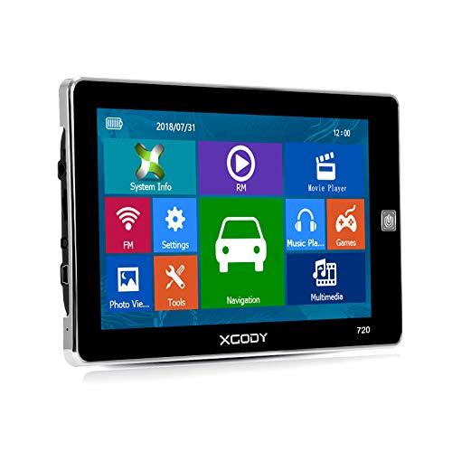 XGODY 720 - Navigatore satellitare con navigatore satellitare GPS da 5 pollici, HD touch screen, con post codeSearch preinstallato, mappe UK e EU 2018 con aggiornamenti a vita