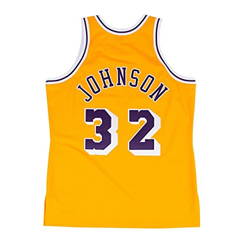 sports shoes a407e 49896 Mitchell   Ness Magic Johnson Los Angeles Lakers 1984 – 85 Authentic Maglia  NBA, ...