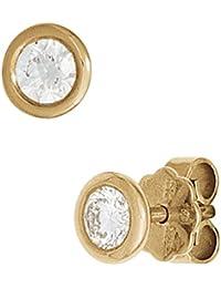 JOBO Ohrstecker 585 Gold Gelbgold 2 Diamanten Brillanten 0,20ct. Ohrringe