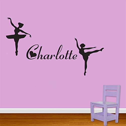 hllhpc Personalisieren Anpassen Name-2 Ballerina wandaufkleber Wunsch besonderes Geschenk Für Mädchen Geburtstag Party Dekoration Wandbild Tapete 38 * 96 cm