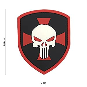 Patch 3D PVC Bouclier Punisher Avec Croix Rouge / Cosplay / Airsoft / Camouflage