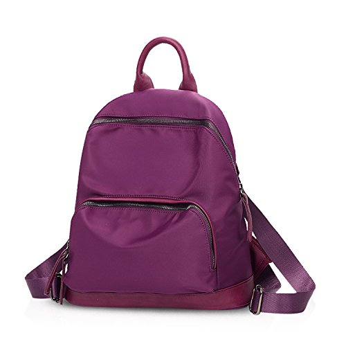NICOLE&DORIS 2017 borse da zaino delle donne del sacchetto di spalla di corsa della scuola di modo Daypack Satchel Girls zaino Nylon impermeabile Bianca Viola