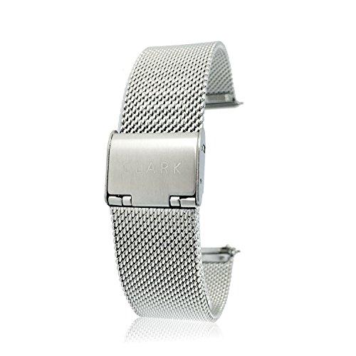 Clarkwatches Uhrenarmband Silber 18mm mit Schnellverschluss |Mesh Milanaise Metall Armband Uhren Ersatzuhrenarmband | wechseln ohne Werkzeug
