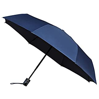 AMOS Automatic Open & Close Compact Windproof Folding Umbrella with Fibreglass Ribs (Navy)