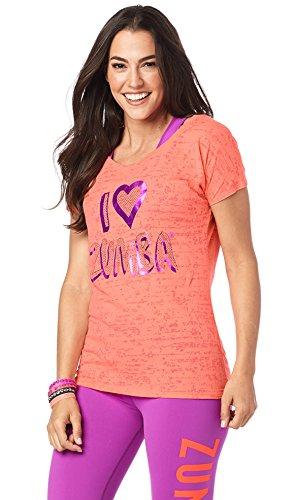 Zumba Fitness I Love Zumba Hi Lo Hem Tee Coral Craze L (Hem Tee Hi-lo)