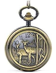 WZW Cerf tacheté creux montre de poche quartz vintage