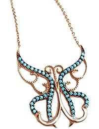 f4f91c3bb723 Mariposa Collar Cadena plata 925 rosévergoldet + cristal piedras turquesa +  Caja de Regalo dorado