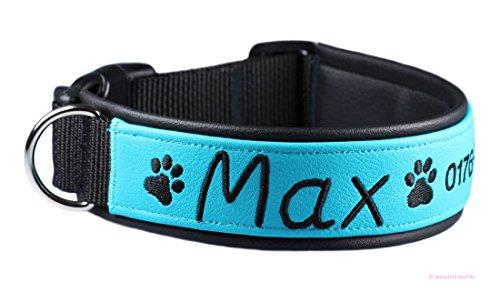 Bell-Wuff individuell besticktes Halsband in hochwertiger Handarbeit gefertigt Größe Breite ca. 32 mm - Umfang 30-33 cm (Hundehalsband Bestickt Name)