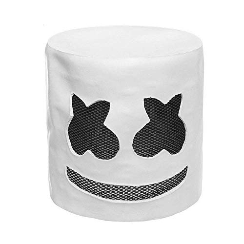 Urben Life DJ Marshmello Maske Helm Mit LED-Licht, Cosplay Kostüm Helm Musik Festival Halloween Party Nachtclub Latex Weiß Maske ()
