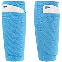 QEES WZ19 - Calcetines de espinilla para fútbol, con Bolsillos para Sujetar Las espinillas, fácil de Quitar, Resistente a la abrasión, Transpirable, Color Azul, tamaño Teens
