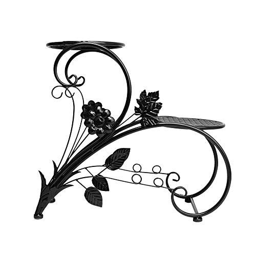 QIANDING HUAJIA Bügeln Sie Blumenstand, Pflanzenblumentopffamiliengarten-Terrassendekorations-Ausstellungsstandbonsais Jardin (Kaffee-topf-tray)
