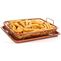 Copper Crisper Tray Non-Stick Oven Baking Tray with Elevated Mesh Crisping Grill Basket 2 Piece Set - By Nuovva