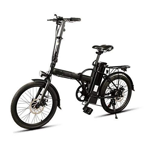 Faltbare Elektro-Moped-Fahrrad for Erwachsene 250W Smart-Fahrrad-Folding E-Bike-6-Gang-Speichenrad 36V 8AH Elektro-Bike 25 km/h leistungsstarker Motor (Farbe : Schwarz, Größe : Einheitsgröße)