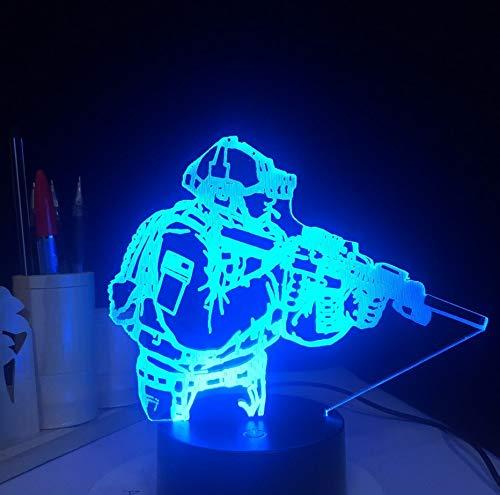 Lámpara De Mesa 3D Led Novedad Acrílico Soldado Del Ejército Usb Figura Forma Luz De Noche Decoración 7 Colores Interior Niños Sueño Iluminación Decoración Regalos