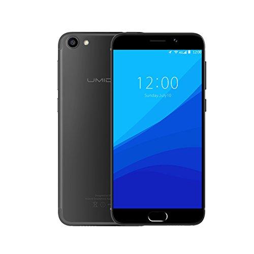 Smartphone 4G, UMIDIGI G Smartphone Pas Cher Téléphone Portable 5 Pouces (Double SIM, 16 Go de ROM, 2 Go de RAM, Android 6.0, Design métallique, Empreinte Digitale, Caméras 8MP + 2MP) -Noir mat