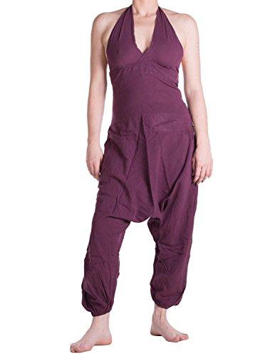 Vishes – Alternative Bekleidung – Haremshose, Latzhose, Neckholder aus Baumwolle beere 34