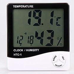 MFEIR® LCD Digitalanzeige Thermometer Hygrometer Indoor Elektronische Temperatur- und Feuchtigkeitsmessgerät Uhr Wetter Wecker,Weiß