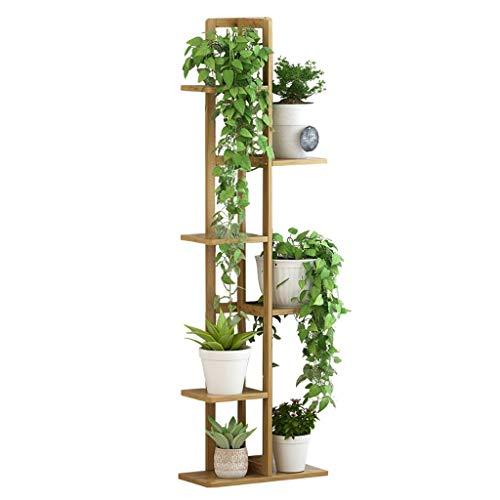 GJX-Blumenständer Mehrschichtig Aufrecht Blumenständer Bambus Einfach Bodenstehend Pflanzenstand Innen Lagerregal
