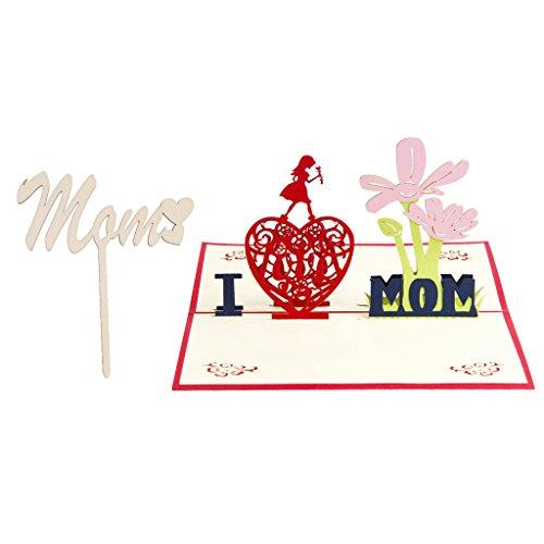 Flameer biglietto d'auguri 3d in legno con motivo a torta in legno per -up