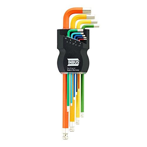 INBUS 70266 Inbusschlüssel Satz Farbcodiert mit Kugelkopf Metrisch 9tlg. 1,5-10mm | Made in Germany | Innensechskant-Schlüssel | Winkel-Schlüssel | 1,5mm | 2mm | 2,5mm | 3mm | 4mm | 5mm | 6mm | 8mm | 10mm | bunt | farbig