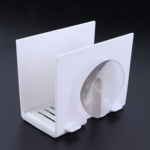 LANDUM Küche Spüle Ecke Aufbewahrung Schwamm Halter Wand montiert Gerichte Drip Rack, Plastik, weiß, Height: 8.5cm(3.35Inch) -