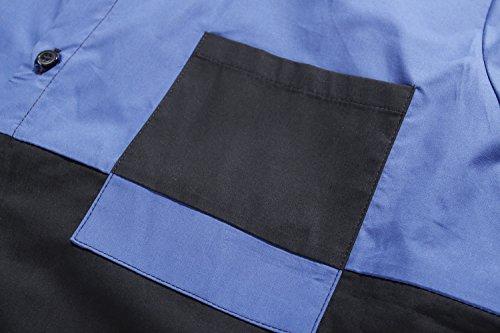 SSLR Chemise Homme Manche Longue Casual Regular Fit Deux Tons Mode Bleu Noir