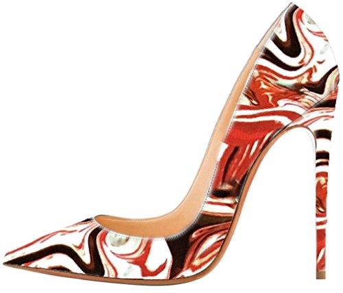 Calaier Femme Caexpensive 12CM Aiguille Glisser Sur Escarpins Chaussures multicolore B