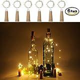 Anpro 6 Pack batería AAA (no incluida) Luz de Botella de Vino,2 metros 20 luces cadena LED en Forma de Corcho,Lámparas Decoradas para Decoración DIY Fiesta, Navidad, Halloween, Boda (Blanco cálido)