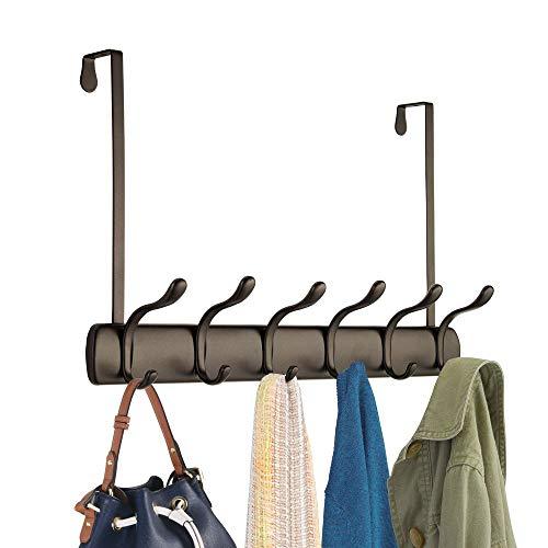 mDesign Hakenleiste - 12 Garderobenhaken für die Tür in Flur und Bad - Mäntel, Jacken, Bademäntel, Handtücher - bronzefarben