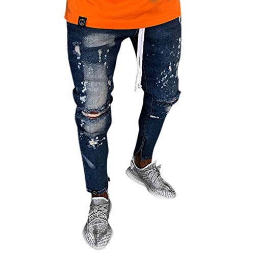 Qiuday Herren Jeans mit geradem Bein Slim Denim Pants Dunkelblau Jogging Sweat Hosen Plus Size Mode Lange Sports Cargo Shorts Taschen Joggers Activewear Regular Straight Original Fit Loose