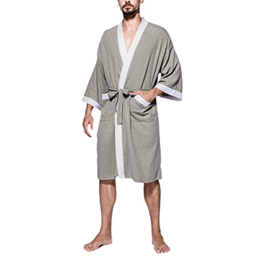 Zhuhaitf Herren Waffle Robe Morgenmäntel Reine Baumwolle Lightweight Bademäntel Gents Kimono Style Wrap Loungewear für All Seasons Spa Hotel Pool (Robe Front Wrap)