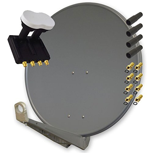 Antenne PremiumX DELUXE85 Aluminium 85cm, Digital SAT Schüssel Spiegel in Anthrazit mit PremiumX Monoblock Quad LNB 3° PXMB-3Q 0,1dB Astra 19,2° Eutelsat 16° HDTV FullHD UltraHD 4K 3D für 4 Teilnehmer