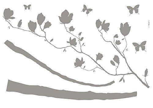 Komar - Deco-Sticker ARABESQUE - 100 x 70 cm - Wandtattoo, Wandbild, Wandsticker, Wandaufkleber, Walltattoo, Sticker, Schmetterlingen, Blumen, Magnolien, Blüten - 17714h, Grau -