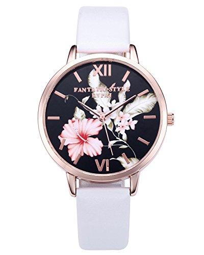JSDDE Uhren,3er Set Vintage Blumen Armbanduhr Basel-Stil Damen Uhr Weiss PU Lederarmband Rosegold Analog Quarzuhr - 6