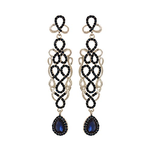 YouBella Jewellery Danglers Fancy Party Wear Earrings for Girls and Women (Blue)
