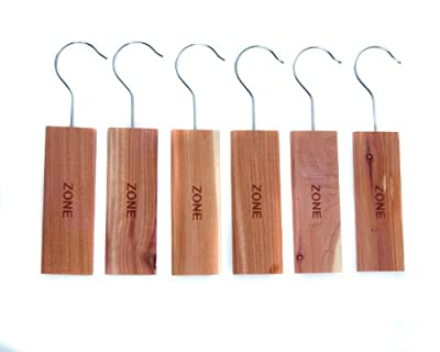Home Zone - 6 Pack of Moth Repellent Hanging Cedar Wood Block with Odour Protection for wardrobes, closets & cloakrooms etc - cheap UK light shop.