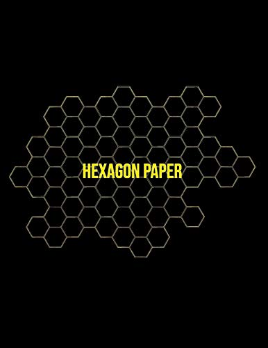 Hexagon Paper: Honeycomb Hex Paper For Organic Chemistry Drawing Gamer Map Board Video Game - Create Mosaics Tile Quilt Design - Gold Black (8.5