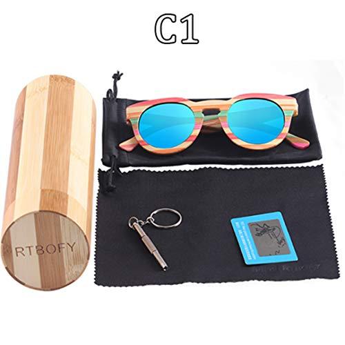 DAIYSNAFDN Holz Sonnenbrille Frauen Bambus Rahmen Brillen Polarisierte Gläser Gläser Mit Holz Box Uv400 C1
