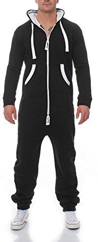 Herren Jumpsuit Jogger Jogging Anzug Trainingsanzug Einteiler Overall 9t5 (XXL, schwarz)
