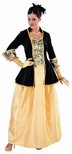 Baronin Kostüm - M214163-M schwarz-gold Damen Rokoko Barock Kleid Kostüm Marquise Baronin Gr.M