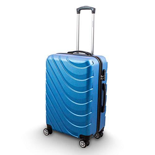 Trolley Hartschalen Koffer Hartschalenkoffer Hardcase Größe L - Modell Wave 2018 (Skyblau)