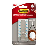 Command MR13-SS-ES Large Modern Metal Hook with 1 Hook/2 Strips
