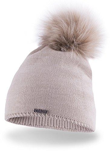 Slouch Beanie für Damen | PaMaMi® 17504 | warme Strickmütze mit Bommel | gestrickte Bommelmütze | Fellbommel Mütze für Winter | weiche Wintermütze | Farbenauswahl (Beige)