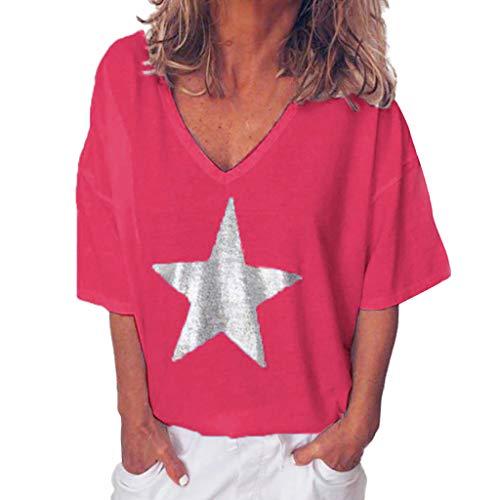 Xmiral t Shirt Donna Divertenti Top da Donna a Manica Lunga con Scollo a V e Scollo a V Tinta Unita XL Donna Rosa Caldo