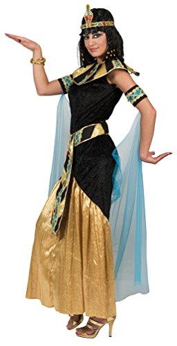 Karneval-Klamotten Cleopatra Kostüm Damen Ägyptische Kaiserin Pharaonin schwarz Gold lang Karneval Damen-Kostüm Größe 48/50