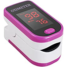 Carejoy Finger Fingertip Pulse Oximeter With LED OLED Display Spo2 Monitor for Adult Child Children Patient in Hospital Home Healthcare Oxygen Bar Community Medical Centre Alpine Area Sports Healthcare with Advanced Functions Automatic Power Off (Rose red)
