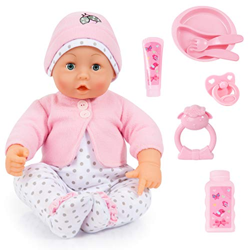 Funktionspuppe, Sprachpuppe Lisa, interaktive Babypuppe spricht 50 Sätze mit viel Zubehör, 46cm, rosa/weiß ()