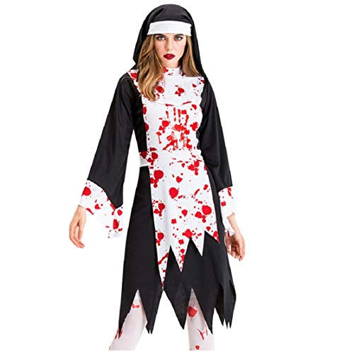 Bluelucon Damen Halloween Kostüm Cosplay Karneval Abendkleid Nonne Zombie Full Set Ghost Damenkostüm Teufel Nonnen Horror Vampir Hexenkleid mit Hat (Happy Ghost Kostüm)